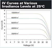 IV Curves at Varous Irradiance Levels at 25